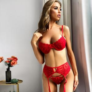 European And American Style New Female Transparent Big Red Lace Flower Sexy Hollow Big Girl Sexy U