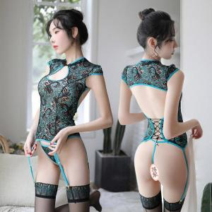 Factory Direct Sales Of New Sexy Lingerie Ladies Sexy Peacock Hollow Embroidery Classical Cheongsam Uniform Temptat