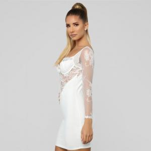 Hot-Selling Long-Sleeved Lace Perspective Stitching Sexy Sling Dress Mature Women'S Sexy