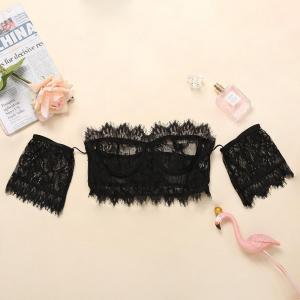Hot Sale Black Lace Flower Strapless Breasted Sling Women'S Fashion Suit Sexy U