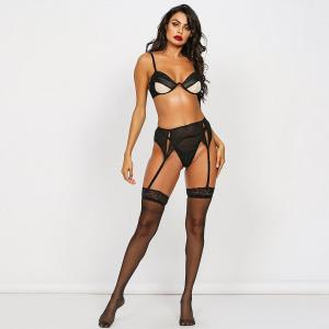 European And American Black Lace Sexy Mesh Starry Sky Three-Piece Sexy