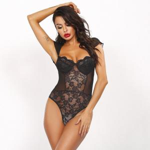 Factory Direct Selling Hot Black Lace Flower Mesh Stitching Body Shaping Mature Women'S Transparent Underwear Sexy U