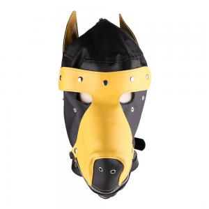 Masked Ball Cosplay Full Face Mask Bondage Leather Dog Headgear for Male an