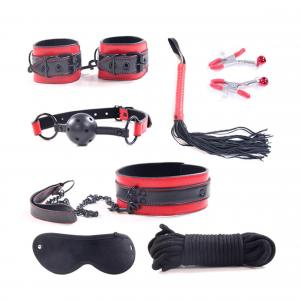 BDSM SM Games Leather Sex Sets Handcuffs Neck Collar Whips Toys for Adult