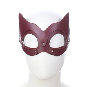 Catwomen Blindfold with Ear Cosplay Roleplay Fox Face Bondage Black Sexy Bdsm Kitten Genuine Leather