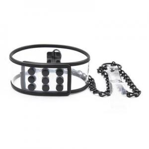 Transparent Neck Collar with Black Edging and Iron Chain Traction Bon