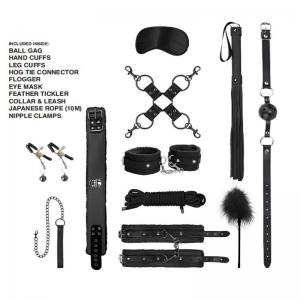 10Pcs/Set Sex BDSM Bondage Kit Leather Handcuffs Ankle Cuffs Mouth Gag Rope Nipple Clip Whip For Adult Sex