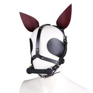 Leather Eye Mask Full Face Mask Leather Black Headgear Wearing