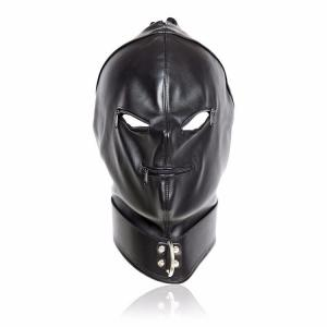 Leather OEM Design Headgear Black Eye Blindfold Head Full Face Bondage f