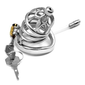 Newest Stainless Steel Round Rings Chastity Lock Chastity Apparatus with Catheter Penis Cage Sex Toys
