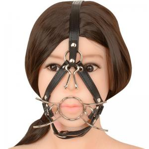 Fetish Slave Leather Mouth Harness Open Mouth Gags Nose Hook Sex Toys f