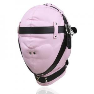 Soft Sponge Pink Eye Mask Full head Hood Sex Game Toys Slave Fantasy Belt Wind