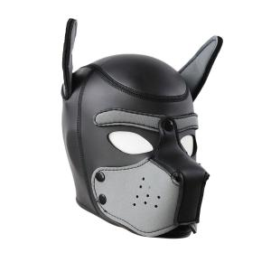 Party Pup Puppy Play Dog Hood Eye Mask Padded Latex Rubber Role Play Cosplay Full Head+Ears Halloween Mask Sex Toy For