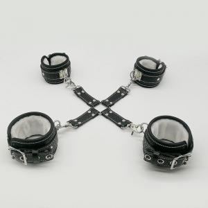 Furry PU Leather Bondage Wrist And Ankle Cuffs Set With Cross Band Handcuffs Role Play