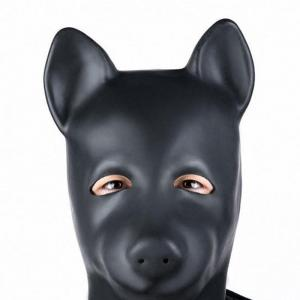 BDSM Natural Latex Dog Head Hood Animal Costume Eye Mask of Bondage Fetish Slave Sex Toys for Ad