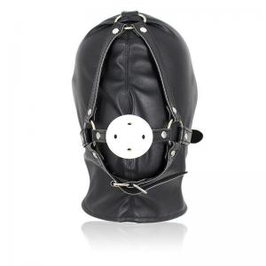 Leather Neck Corset Collar Harness Mouth Muzzle Gag Hood Gimp Slave Costume