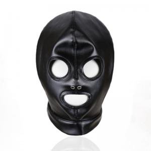 Black Leather Mask Open Eyes Open Mouth Face Cover Blindfold Eye Mask Halloween Cosplay Costume Hood Unisex