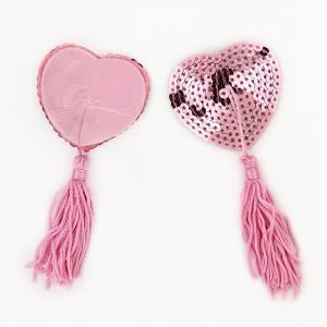1 Pair Milk Paste Women Tassel Sequin Paste Silicone Heart Shaped Breast Nipple Cover Chest Paste Sexy