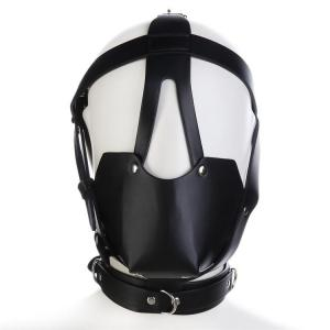 Black Leather Head Harness hood with Leather Muzzle and Gag Ball SM Bondage BDSM
