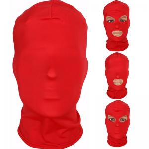 Full Head Bondage Mask with No Hole 1 Hole 2 Holes 3 Holes Choice Head-Moun