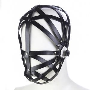 New Design Leather Head Restraint Headgear Adjustable Size Hollow Out Bondage Eye Mask Adult