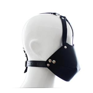 Leather Face Cover Ball Gag Cosplay Costume Sex Suit Headgear Adult G
