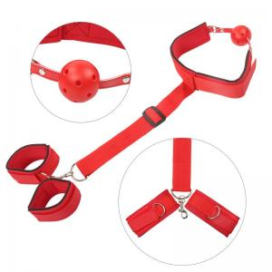 Red Back Handcuffs with Alternative Mouth Stopper Ball Gags Neck Collar