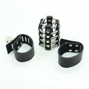 Genuine Leather Cock Rings Harness Ball Scrotum Stretcher Cock Cage Fetish Male Chastity Device Sex Toy For Men