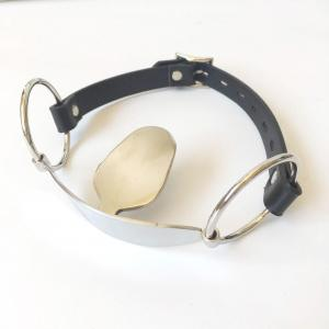 Fetish Stainless steel tongue Mouth Gag Mouth Flail Leather Mouth Plug Locking Oral Fixation Slave Bondage Ad