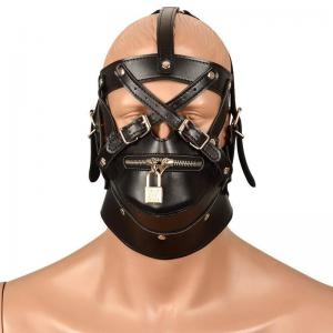 BDSM Bondage Hoods Zipper Adult Games Male Leather Face Cover Fetish Restraint Erotic Toys Sex Toys for Couples W