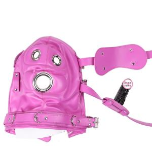 Pink Color Bondage Hood BDSM Leather Muzzle Gimp with Detachable Eye Pad Penis Mouth Gag Head Harness Sexy Costume A