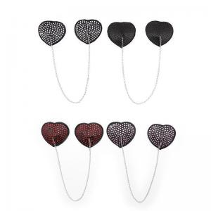 1 Pair Sexy Heart Shape Chain Rhinestone Nipple Cover Women Reusable Breast Wear Silicone Nipple Pasties