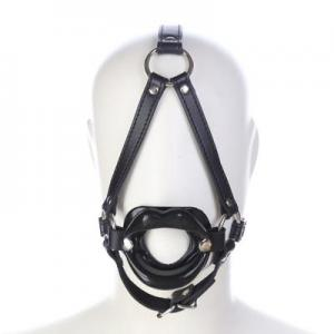 Funny Sexy Soft Lipstick Mouth BDSM Bondage Fetish Leather Adjustable Head Harness Open M