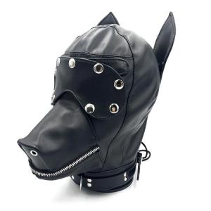 BDSM Dog Head Sex Hood Face Cover For Fetish Play Cosplay Group Sex Party Adult Sex Toys Faux Leather For Beginners Erot