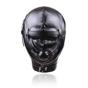 Fetish Slave Leather fetish leather mask with black gag ball for Party Bondage Masks Sex Toys For