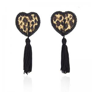 1 Pair Women Sexy Leopard Lace Self Adhesive Sequin Tassel Cover Heart Nipple Cover