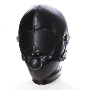Leather Headgear Full Face Bondage with Ball Gag Mouth Mask Sex