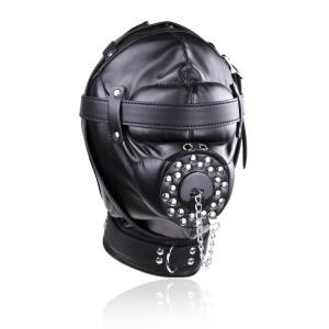Full Face Sex Toys Bdsm Bondage Slave Headgear with gag f