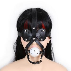 Adjustable Forced Oral Sex Game Fetish Leather Metal O-rings Buckle Head Harness With Silicone Mouth Ball Gag For Adu